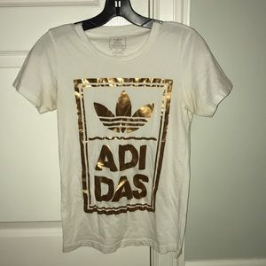 White and Gold Adidas T-shirt